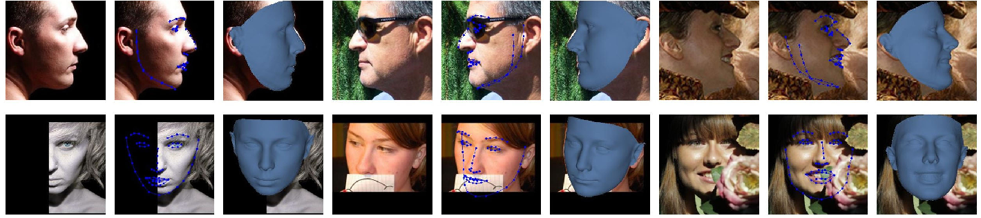 Figure 1 for SADRNet: Self-Aligned Dual Face Regression Networks for Robust 3D Dense Face Alignment and Reconstruction