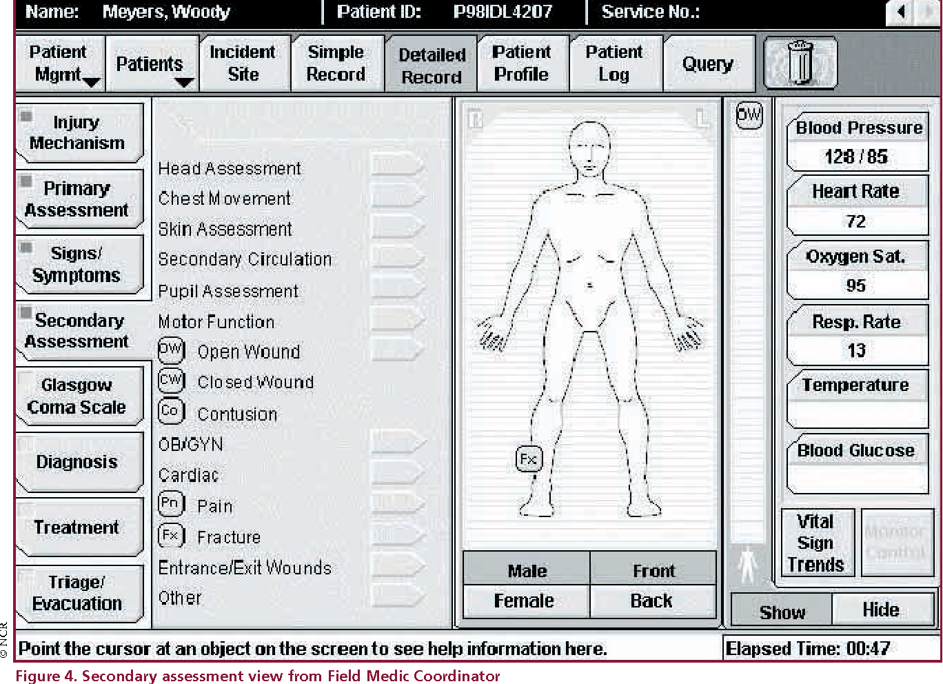 Figure 4. Secondary assessment view from Field Medic Coordinator