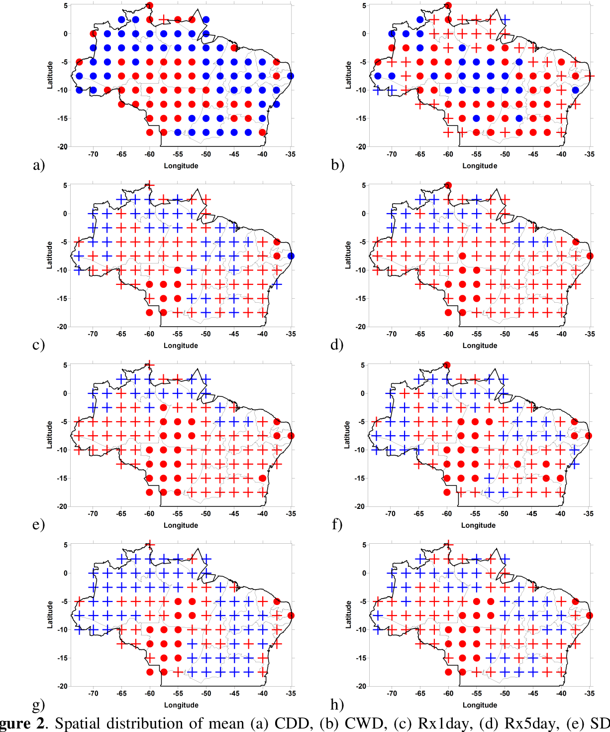 Figure 2. Spatial distribution of mean (a) CDD, (b) CWD, (c) Rx1day, (d) Rx5day, (e) SDII, (f) R10mm, (g) R20mm and (h) R50mm indices trends. () and (●) are positive and negative trends, respectively, statistically significant at 5% level. () and (●) are statistically not significant.