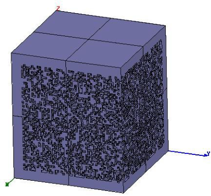 Figure 6. One spatial quadrant of the THz volume hologram currently under design for eventual fabrication via polymerjetting RP.