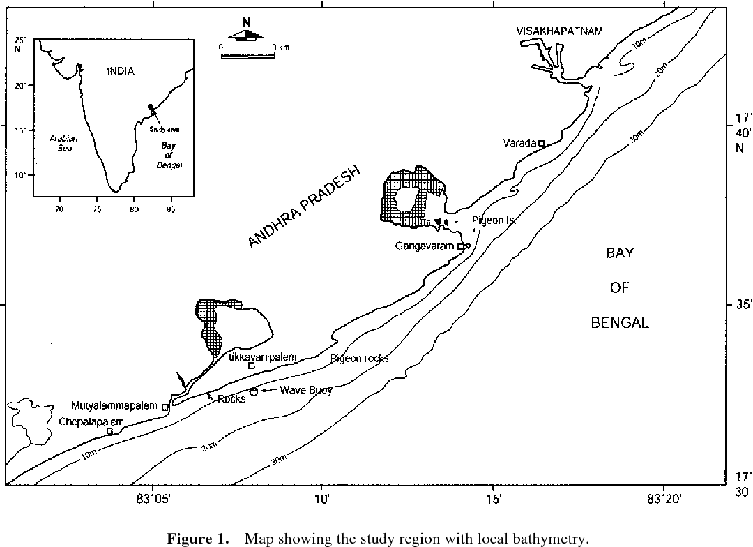 Figure 1. Map showing the study region with local bathymetry.