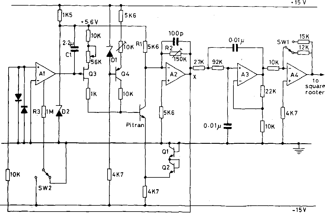 Figure 1 From A Pressure Sensitive Transistor Spirometer For The 741circuit1 Zero Offset Compensation Circuit Pitran Active Filter And Preamplifier