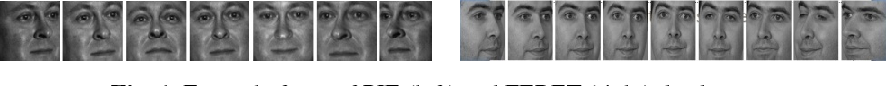Fig. 1. Example faces of PIE (left) and FERET (right) database