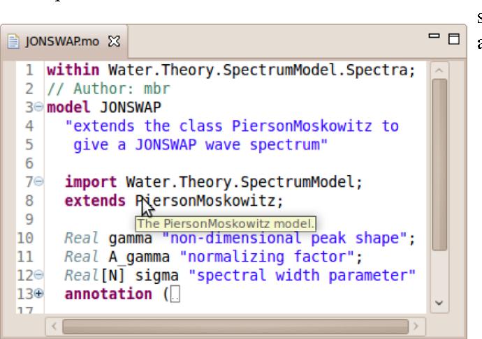 Figure 5: Xtext Modelica editor