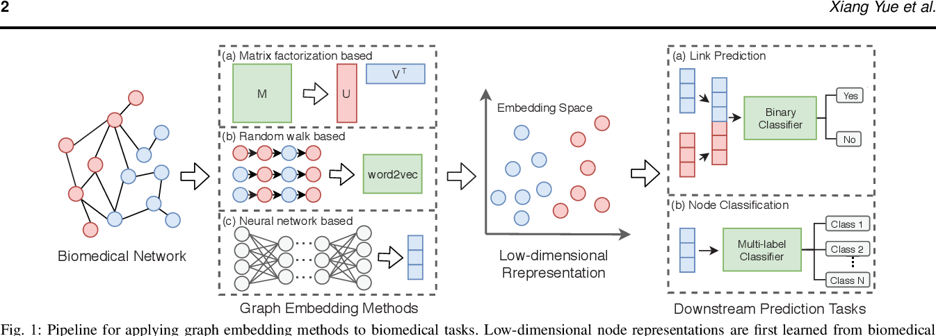 Figure 1 for Graph Embedding on Biomedical Networks: Methods, Applications, and Evaluations