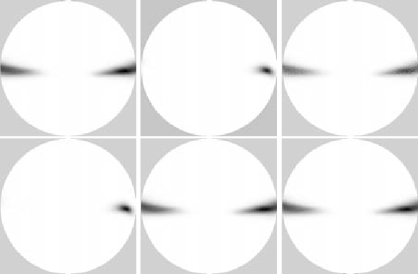 Figure 2: Posterior likelihood images of a scene with sideways translation over 1000 sweeps of the epipolar space. From left to right, top to bottom: true likelihood; 3pt+e method; 5pt+e method; 5pt method; 7pt method; 8pt method.