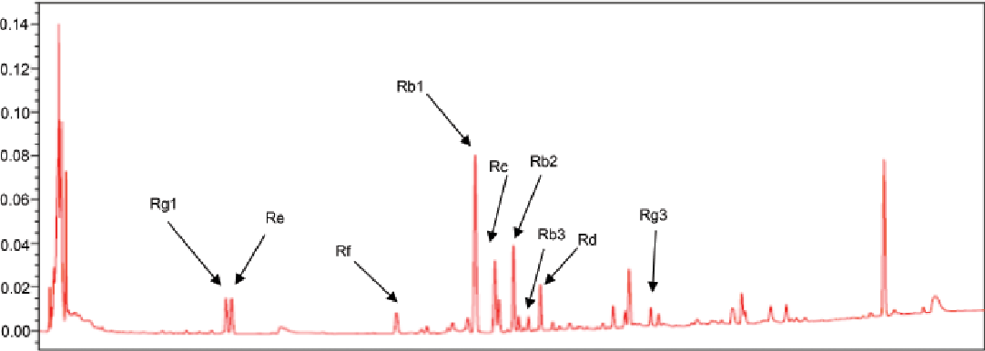Fig. 1. HPLC analysis of ginsenoside contents from red ginseng saponin fraction.
