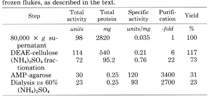 TABLE I Purification of liver fluke phosphofructokinase