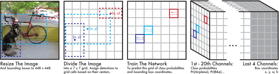 Figure 2: The Model. Our system models detection as a regression problem to a 7× 7× 24 tensor. This tensor encodes bounding boxes and class probabilities for all objects in the image.