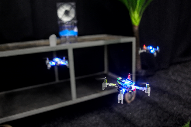 Figure 1 for Sniffy Bug: A Fully Autonomous Swarm of Gas-Seeking Nano Quadcopters in Cluttered Environments