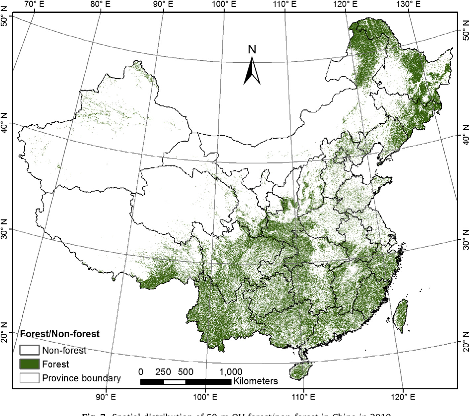 Fig. 7. Spatial distribution of 50-m OU forest/non-forest in China in 2010.