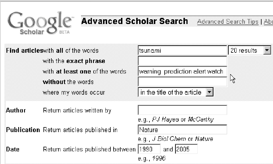 Figure 1 from SAVVY SEARCHING Google Scholar : the pros and