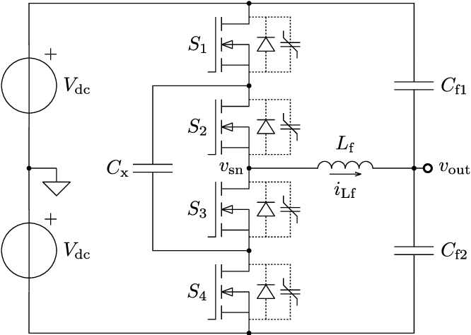 schematic of a single-cell flying capacitor resonant pole inverter