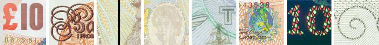 Figure 4: Images of the (disclosed) security features of a £10 note, courtesy of the Bank of England.