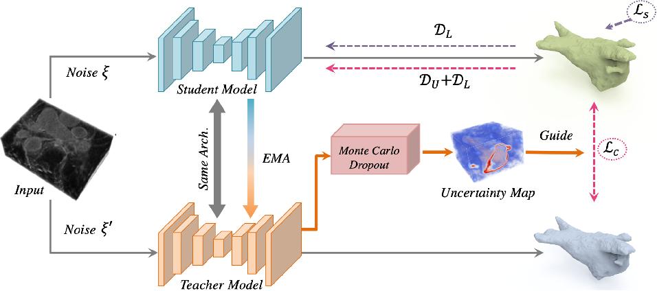 Figure 1 for Uncertainty-aware Self-ensembling Model for Semi-supervised 3D Left Atrium Segmentation