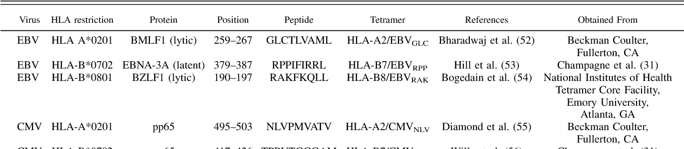Table I. EBV- and CMV-specific tetramers used in this study