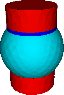 Fig. 1: Solder bump geometry used for the simulation. On the top of the Sn bump, a Ni UBM layer is placed.
