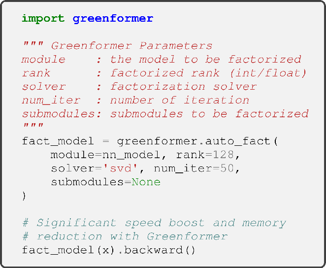 Figure 1 for Greenformer: Factorization Toolkit for Efficient Deep Neural Networks