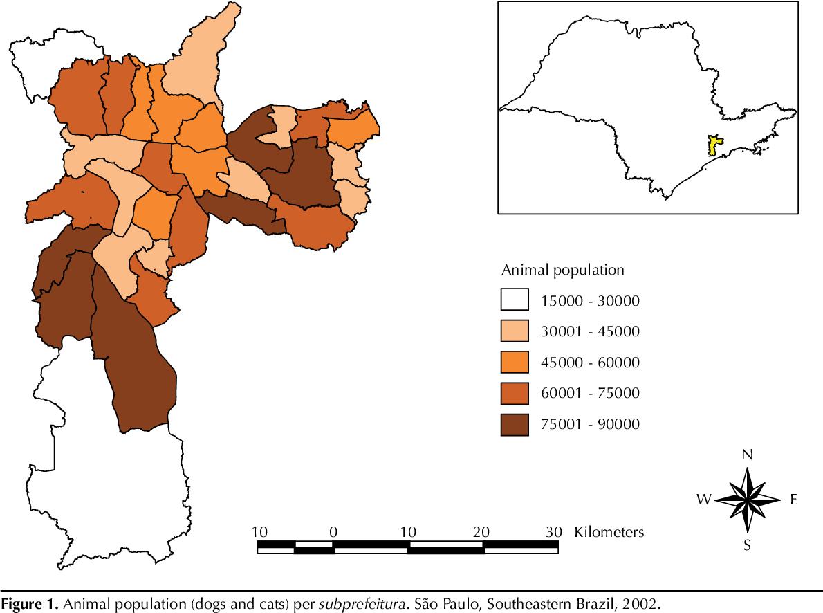 Figure 1. Animal population (dogs and cats) per subprefeitura. São Paulo, Southeastern Brazil, 2002.