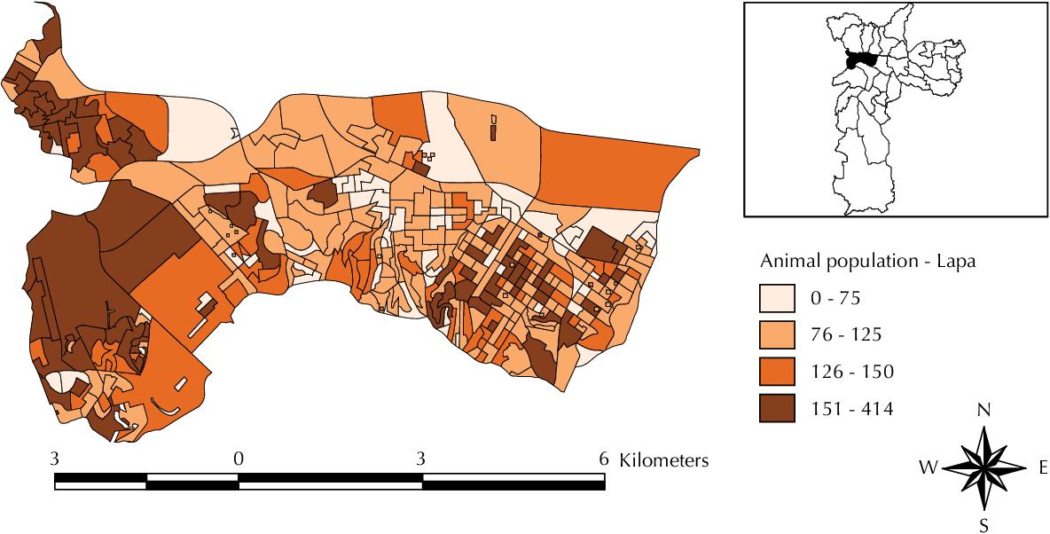 Figure 2. Animal population per census tract at the Lapa subprefeitura. São Paulo, Southeastern Brazil, 2002