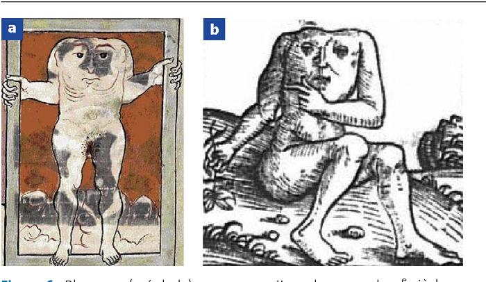 Figure 6. Blemmye (acéphale). a : manuscrit anglo-saxon du XIe siècle (Marvels of the East), British Library, Londres ; b : H. Schedel (Chronique du Monde, 1493).