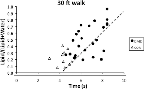 Fig. 4. Scatterplot demonstrating relationships between lipid fraction of the peroneal muscles and the 30ft Walk for boys with DMD and healthy controls.