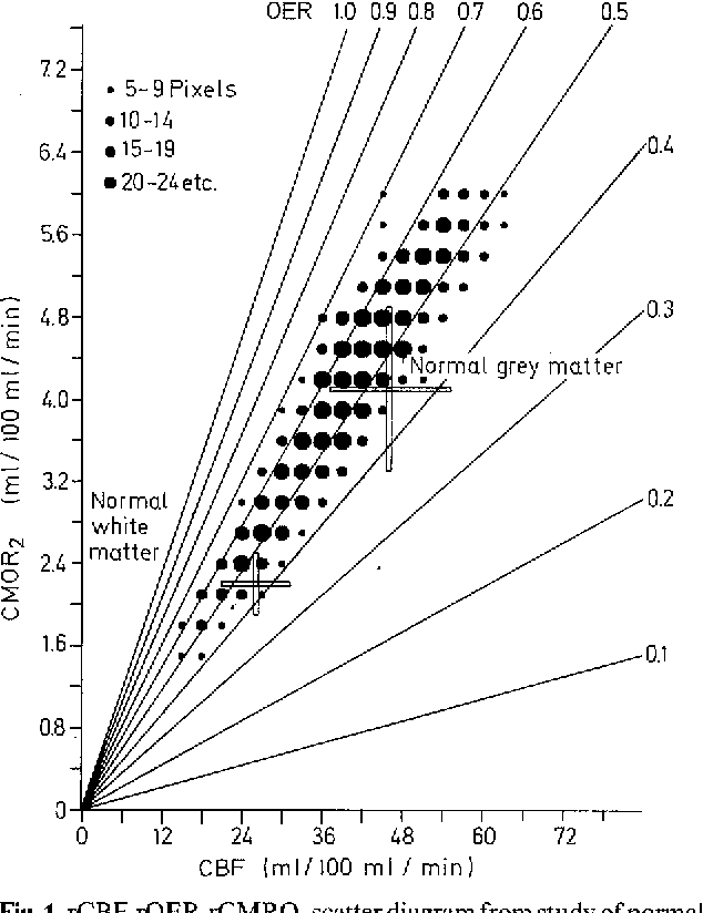 Fig. 1. rCBF-rOER-rCMRO2 scatter diagram from study of normal volunteer (values from brain slice centred 6 cm above orbitomeatal line - OM + 6 cm). Each pixel (representing a volume of brain 2.5 x 2.5 x 16.0 mm 3) has been plotted as CMRO2 (ordinate) against CBF (abscissa). Isobars representing values of OER (OER is proportional to the ratio CMRO2 : CBF), and mean values of grey and white matter + 1 SD, have been included. There is a wide scatter of values of CMRO2 and CBF, reflecting the physiologically very disparate tissues included in the brain slice, and the heterogeneous mixture of grey and white matter in many pixels. Values of OER are confined to a much narrower range which demonstrates the normal close coupling between CMRO2 and CBF in grey and white matter