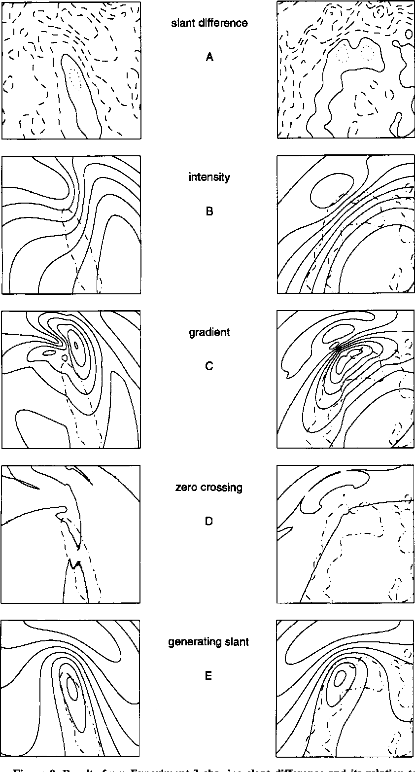 Figure 9. Results from Experiment 2 showing slant difference and its relation to image properties and the generating slant. The left column displays the results for the surface orientation identical to that in Experiment 1. The right column displays the results for the rotated orientation. (A) The contour map ofslant difference, with the solid line indicating the line of zero slant difference. The dotted line indicates positive slant difference, and the dashed line indicates negative slant difference. The contour lines indicate values of slant at 10· intervals. For the following panels, the contour of zero slant difference is indicated by a superimposed dot-dash line. (B) The contour map ofthe spatially filtered image intensity. (C) The contour map ofthe gradient ofthe filtered image intensity. (D) The zero crossings of the second derivative of the filtered image intensity taken in the direction of gradient. (E) The contour map of generating slant.