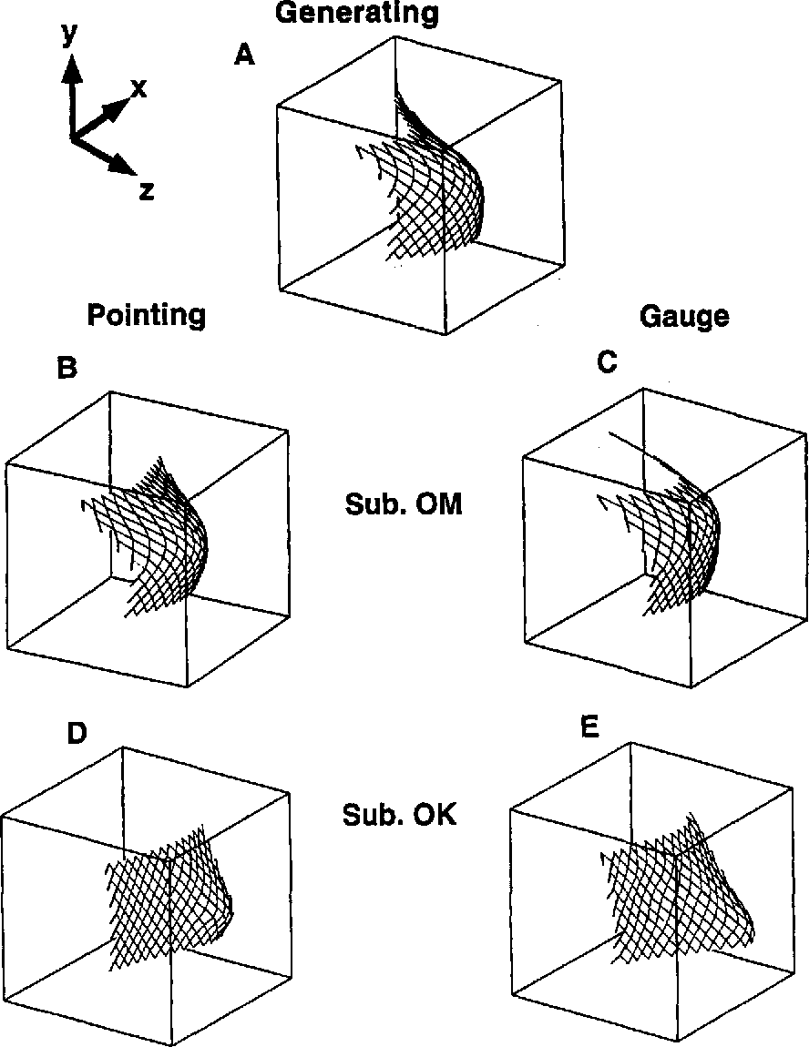 Figure 4. Examples ofthe best fitting surface to the 196 samples ofsurface orientation from Experiment 1. Shown are the recovered surfaces for the generating values (A), the responses of Subject O.M. for pointing (8) and gauge (C), and the responses of Subject O.K. for pointing (D) and gauge (E).