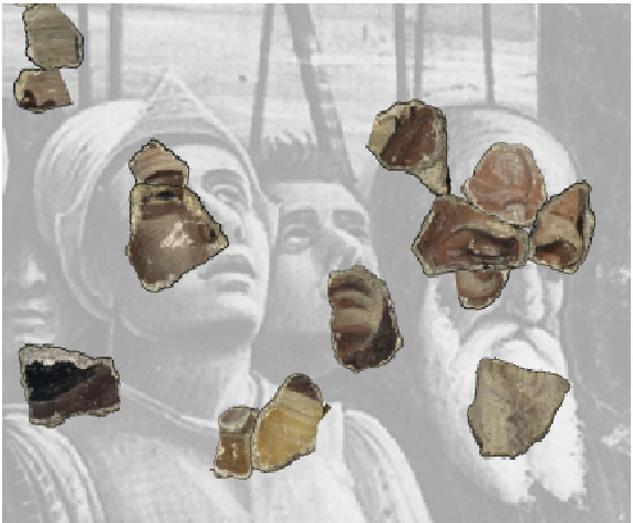 Figure 1: Fragmented A. Mantegna's frescoes (1452) by a bombing in the Second World War. Computer based reconstruction by using efficient pattern matching techniques [33].