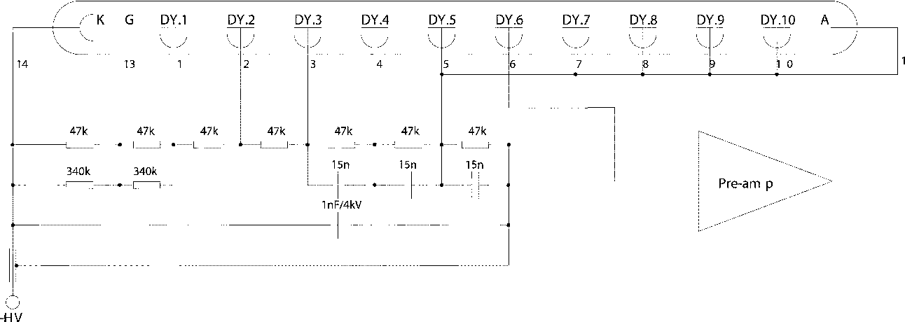 Fig. 1. Electronic scheme of the voltage divider.