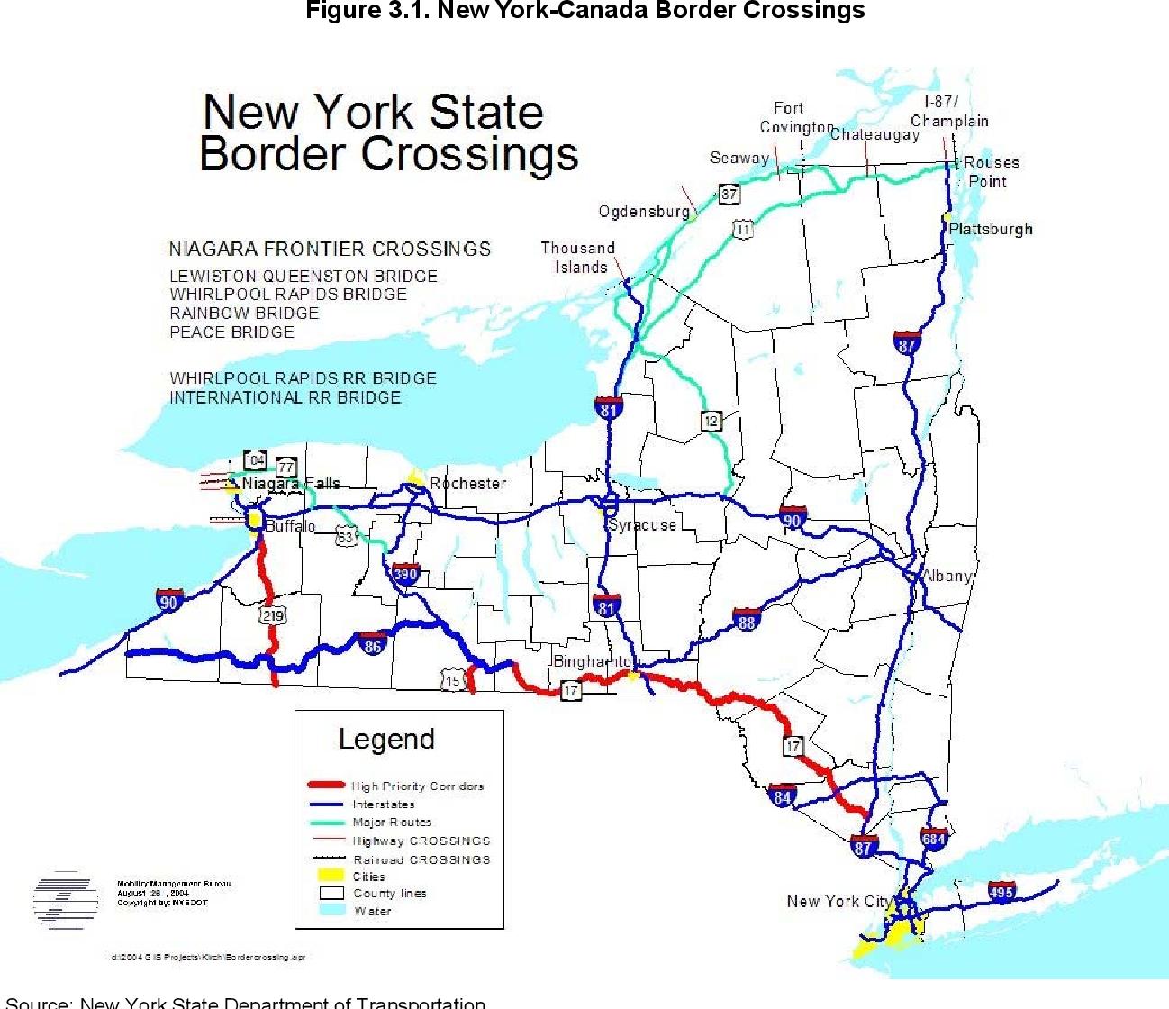 Map Of Canada New York Border.Figure 3 1 From Assessing New York S Border Needs Semantic Scholar
