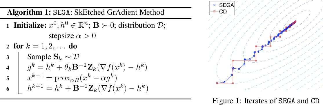 Figure 1 for SEGA: Variance Reduction via Gradient Sketching