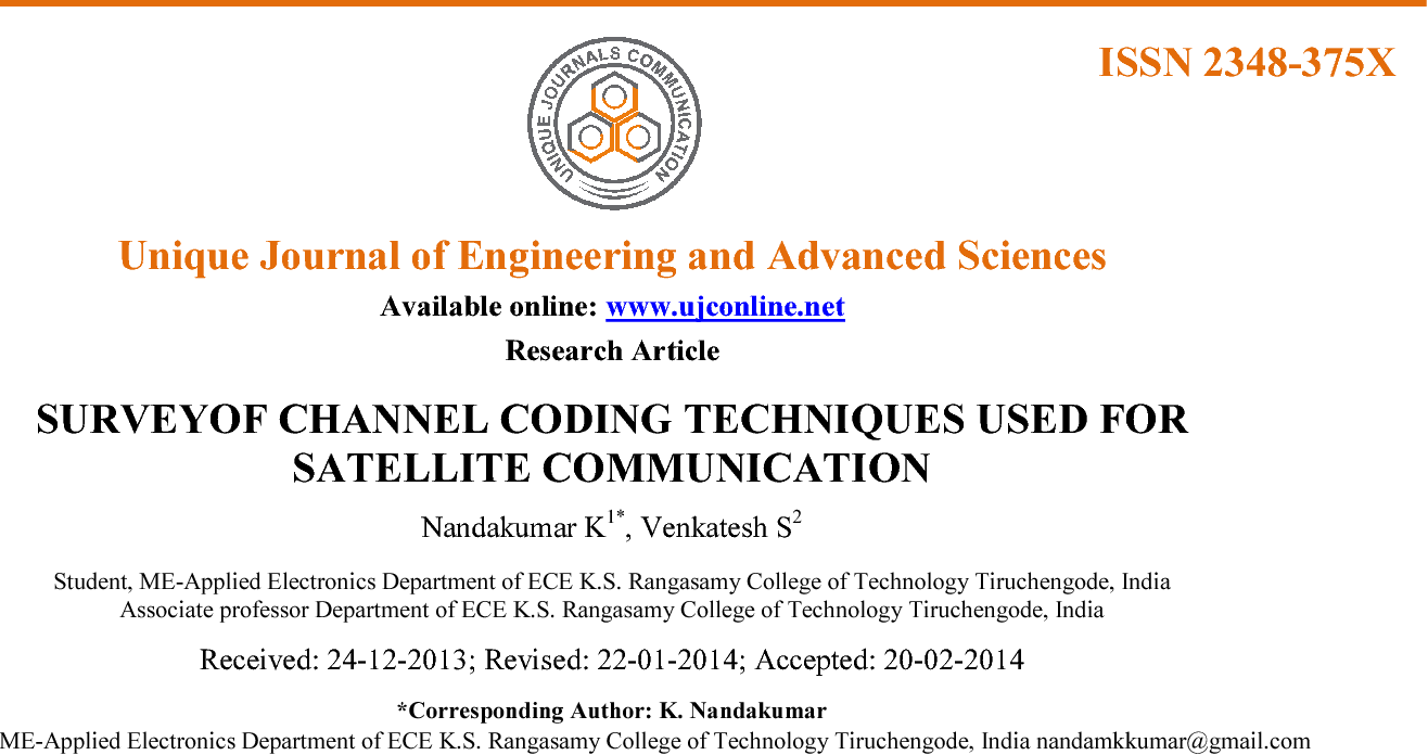 PDF] SURVEYOF CHANNEL CODING TECHNIQUES USED FOR SATELLITE