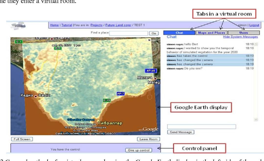 Figure 2 General outlook of a virtual room, showing the Google Earth display in the left side of the web page, the Chat tab, Maps and Places tab and Users tab on the right and the Control panel in the bottom