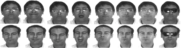 Fig. 7. Sample face images from the AR database. Facial expressions from left to right: 'natural expression', 'smile', 'anger', 'scream', 'left light on', 'right light on', 'all side lights on' and 'wearing sun glasses'.