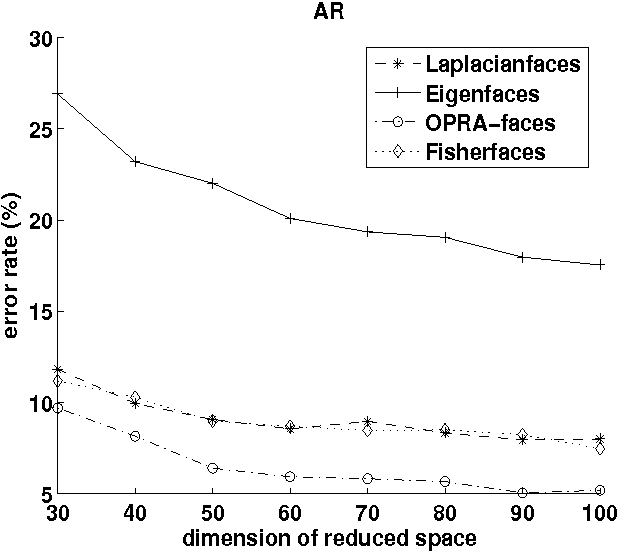 Fig. 8. Error rate with respect to the reduced dimension d on the AR database.