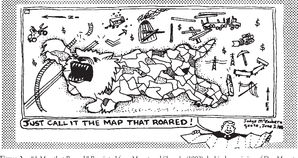 """Figure 2. """"A Map that Roared."""" Reprinted from Monet and Skanu'u (1992), by kind permission of Don Monet."""