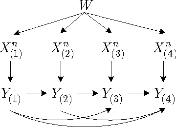 Fig. 5: Bayesian network of (W,Xm×n, Y m) in the interactive case (m = 4).