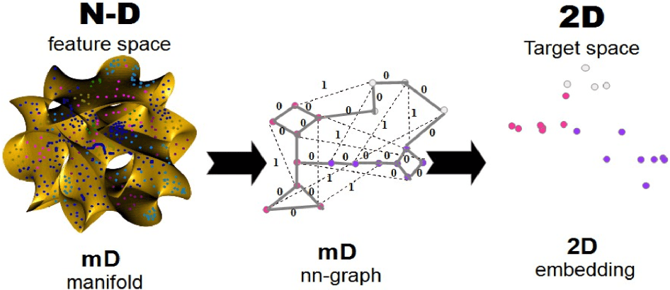 Figure 1 for 2-D Embedding of Large and High-dimensional Data with Minimal Memory and Computational Time Requirements