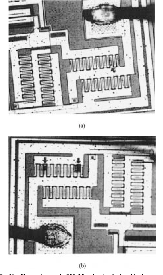 Figure 19 From On Chip Esd Protection Design By Using Polysilicon Onchip With Mixedmode Circuit Simulation Pictures Showing The Failure Location Indicated Arrows