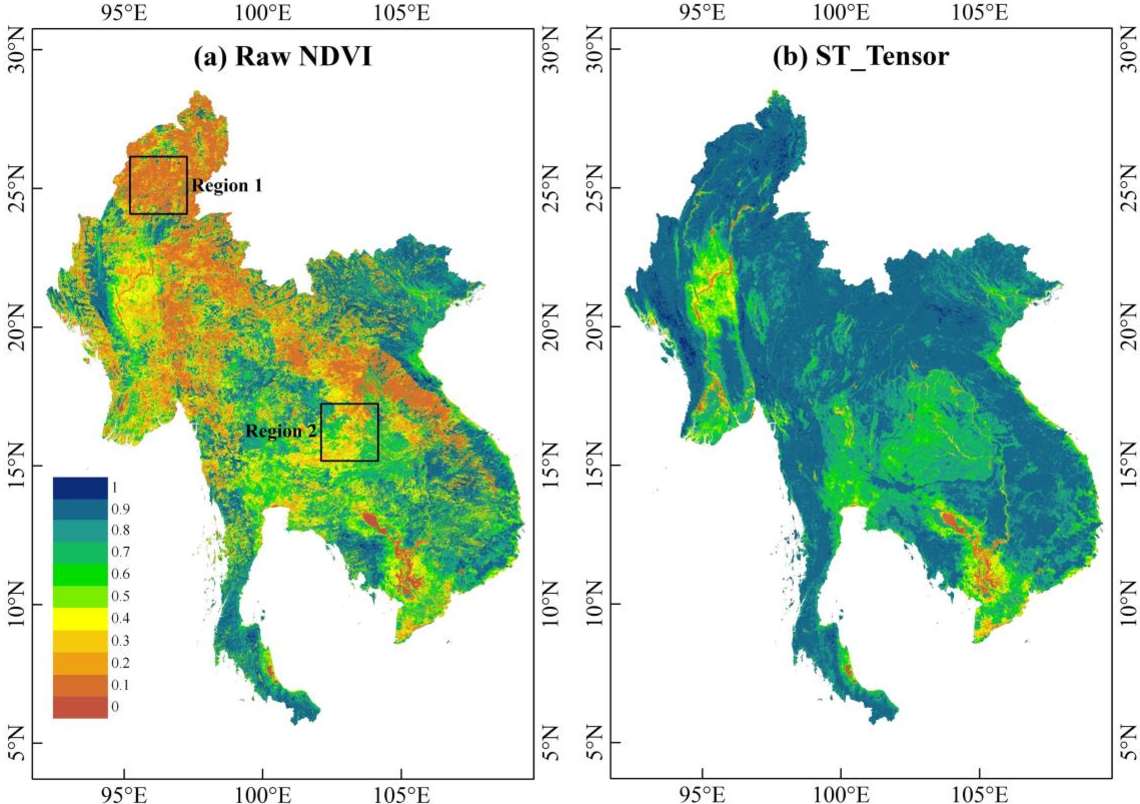 Figure 4 for Long time-series NDVI reconstruction in cloud-prone regions via spatio-temporal tensor completion