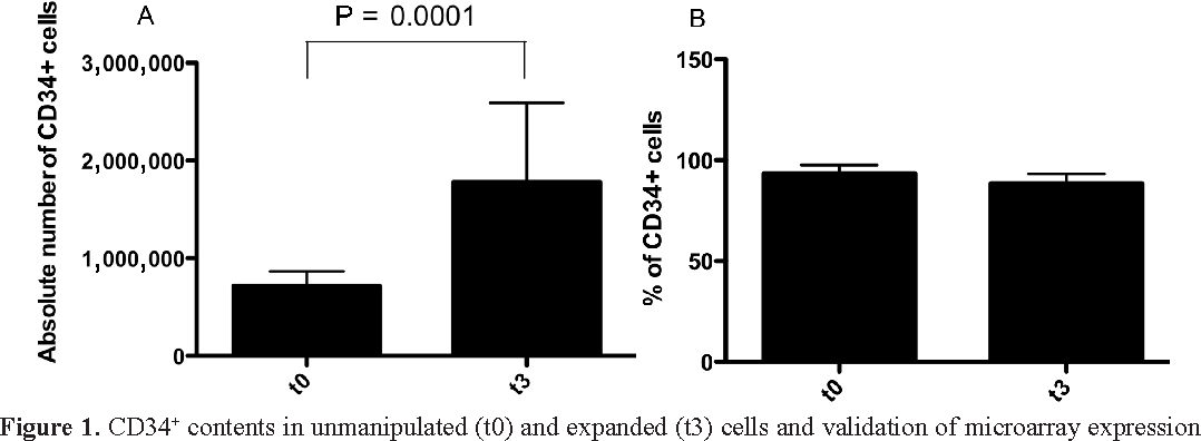 Figure 1. CD34+ contents in unmanipulated (t0) and expanded (t3) cells and validation of microarray expression data of t0 and t3 cells. A. Absolute number of CD34+ cells at t0 and t3 (P = 0.0001). B. Percentage of CD34+ cells at t0 and t3 (P = 0.006).