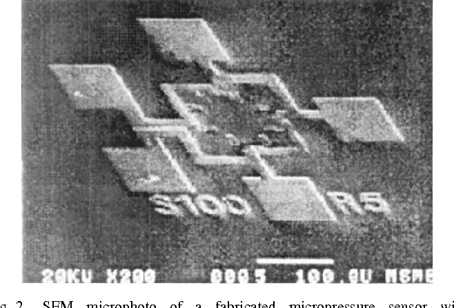 Fig. 2. SEM microphoto of a fabricated micropressure sensor with 100- m-wide square-shape diaphragm.