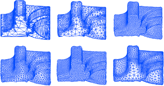 Figure 5: Fandisk with 6094 triangles. Top row: initial mesh, Laplacian, S-ODT. Bottom row: Angle-based, Uniform area, Variable density.