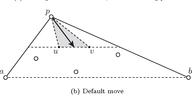 Figure 1: Move of an external robot, in two different cases. Robots' locations are indicated as small circles.