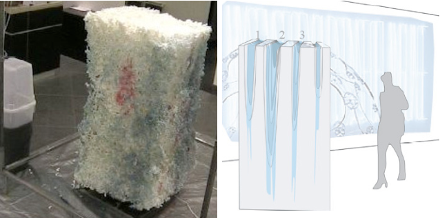 Figure 5. Data Sculpture. Left: Spam email controlled foam erosion [3], Right: Human activity-depending water erosion, PulsArt [8].