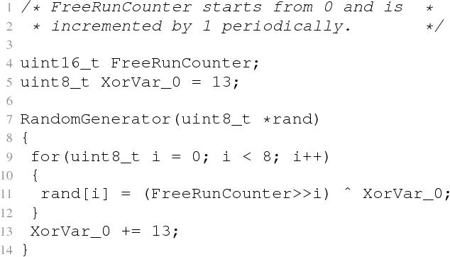 Fig. 6. Weak random number generator utilized by a common DECT base station