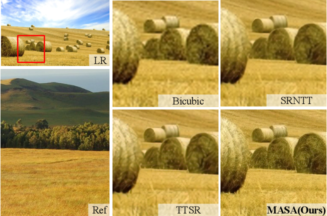 Figure 1 for MASA-SR: Matching Acceleration and Spatial Adaptation for Reference-Based Image Super-Resolution