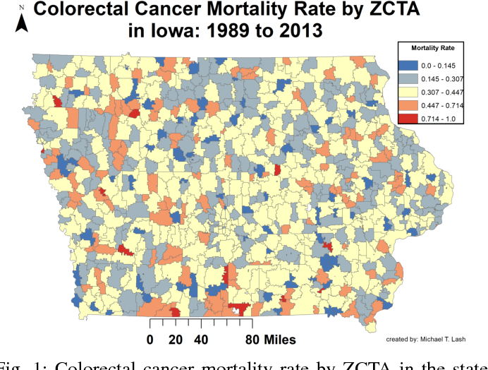 Figure 1 for Learning Rich Geographical Representations: Predicting Colorectal Cancer Survival in the State of Iowa
